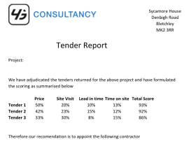 Tender Report